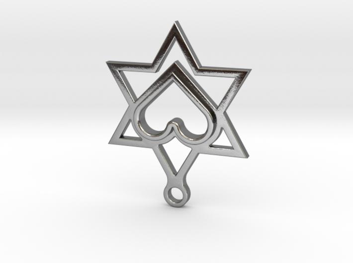 Star of David Heart Pendant 3d printed