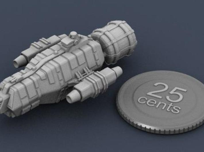Jovian Pangolin class Light Carrier 3d printed Render of the ship, plus a virtual quarter for scale.