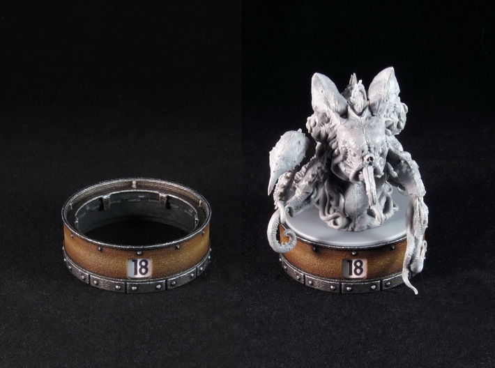 Point counter/mini base - 50mm (rotating) 3d printed Painted and assembled counter. Miniature copyright Monolith.