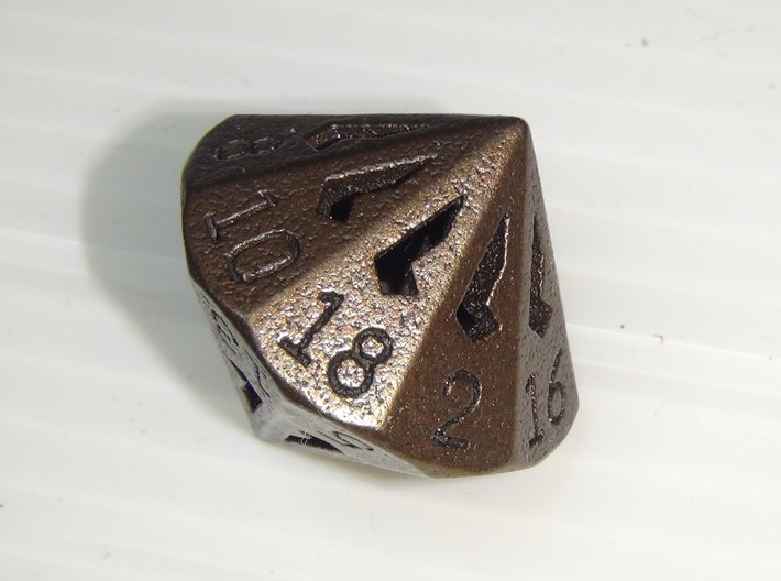 18 Sided Die - Regular 3d printed 18 Sided Die in Matte Bronze Steel