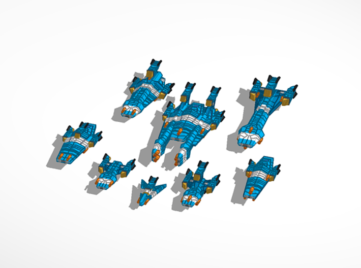 Haydron Advanced Heavy Cruiser 3d printed Fleet view for size refrence