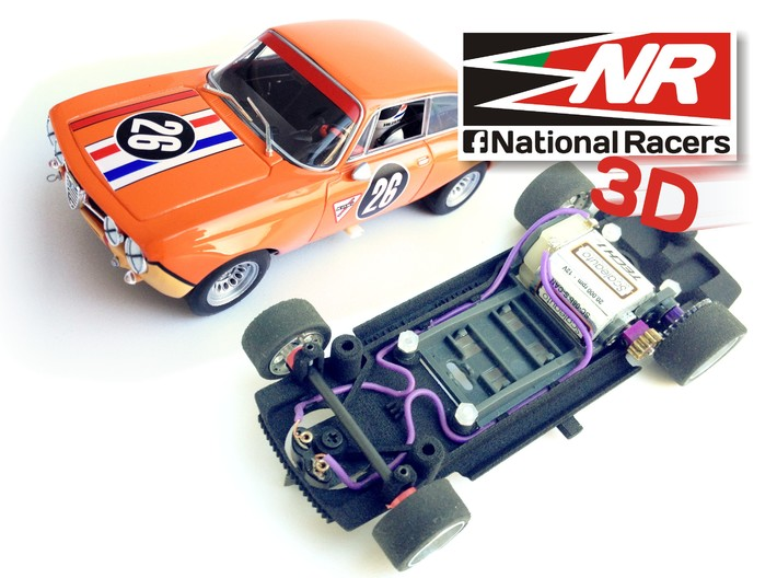 3D Chassis - Fly Alfa Romeu Giulia GTAM (SW|IN) 3d printed Chassis compatible with Fly model (slot car and other parts not included)