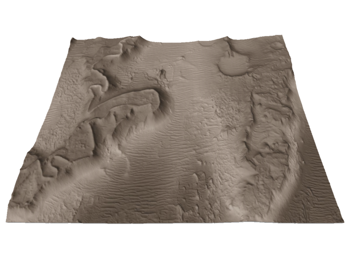Mars Map: Martian Meanders - Sepia 3d printed