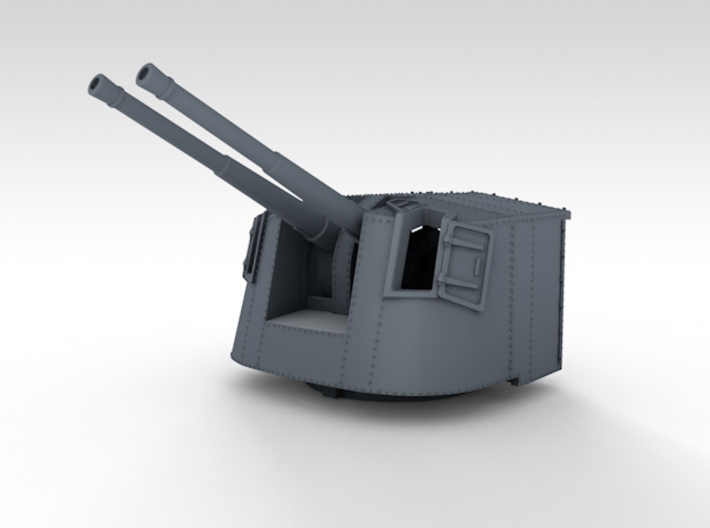 "1/350 4.7"" MKXII CPXIX Twin Mount x4 25º 3d printed 3d render showing product detail"