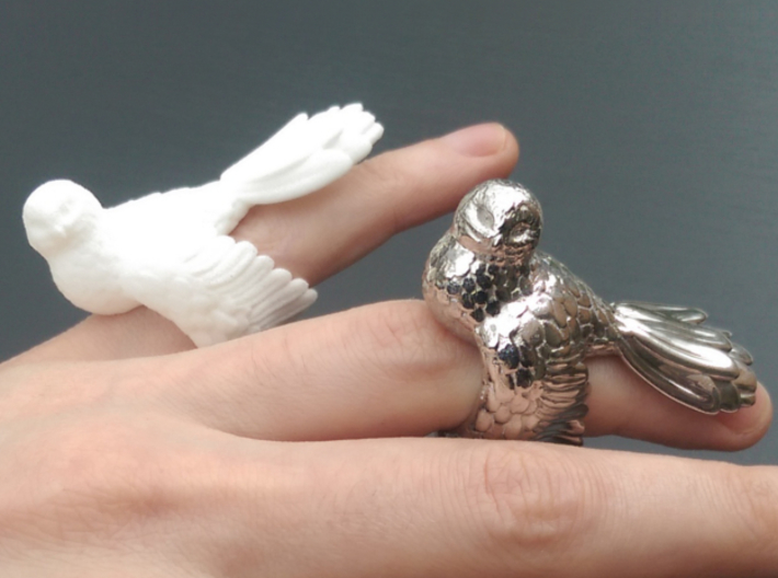 Owl Ring Size 51 (16,3) 3d printed White Strong and Flexible and Rhodium Plated