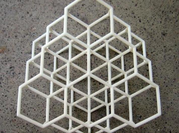 Diamond structure 3d printed IRL, showing the 3 fold symmetry.