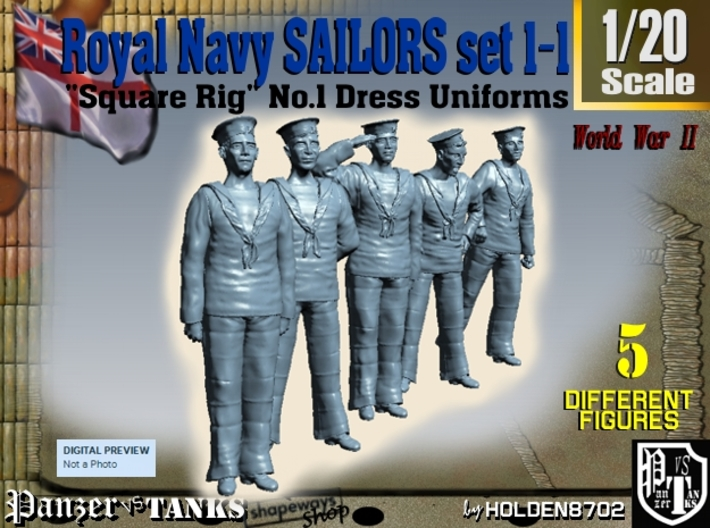 1-20 Royal Navy Sailors Set1-1 3d printed