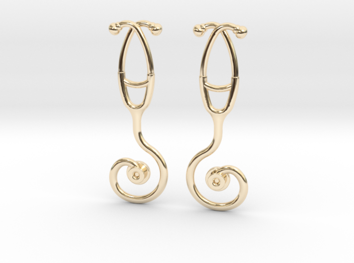 Stethoscope Spiral Earring 3d printed