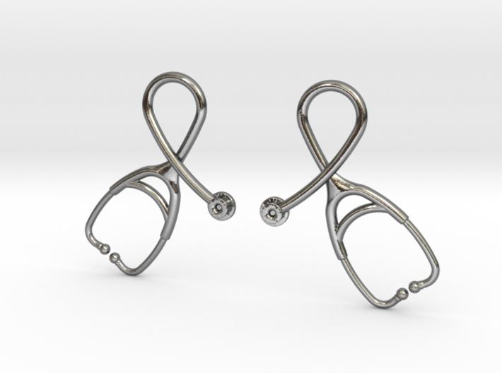 Stethoscope Looped Earrings 3d printed