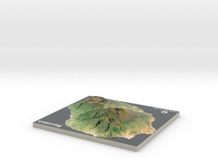 Reunion Island Map 3d printed