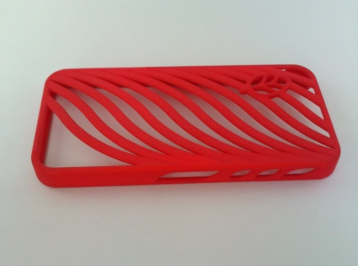 wavy case 3d printed Coral Red Strong & Flexible Polished