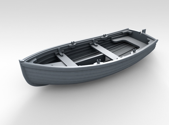 1/96 Scale Allied 10ft Dinghy with Rudder 3d printed 3d render showing product detail