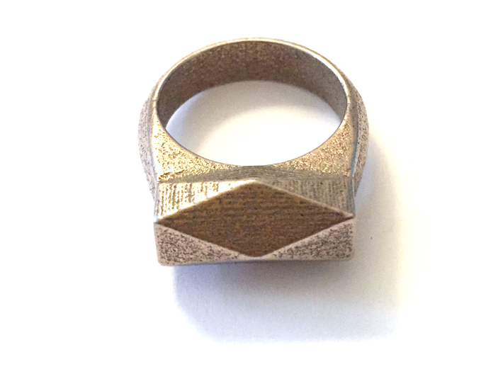 Chunky Hedron Ring 3d printed Chunky Hedron Ring in Stainless Steel