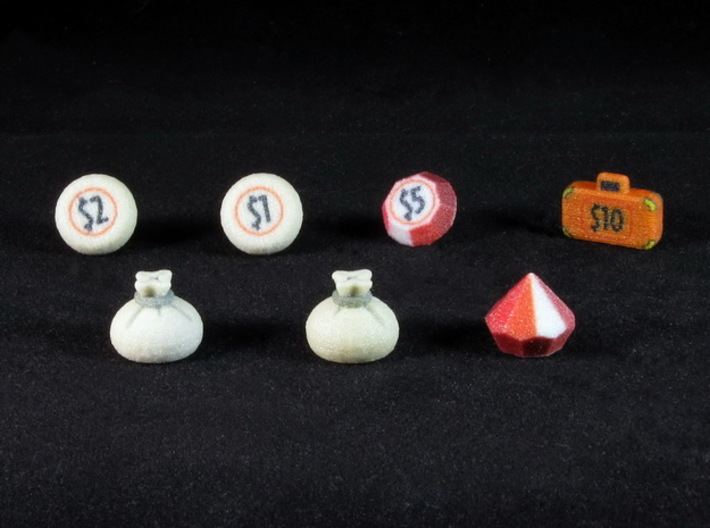 Colt Express Cursed Loot tokens (7 pcs) 3d printed Full Color Sandstone, with a couple spray coats of gloss varnish