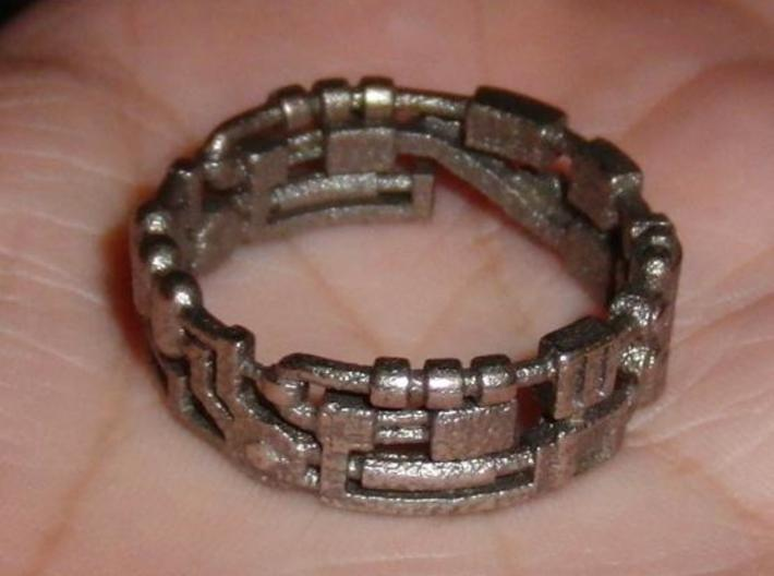 Mecha Ring (size 15ish in metal) 3d printed Mecha Ring in Steel
