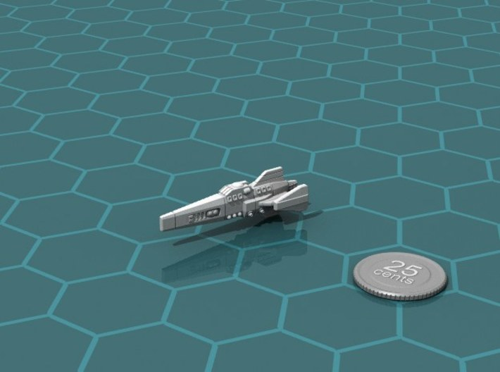 Ikennek Frigate 3d printed Render of the model, with a virtual quarter for scale.