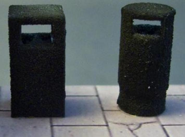 1:76th litter bin 2 sprue 3d printed One of these bins next to a square bin, which is also available.
