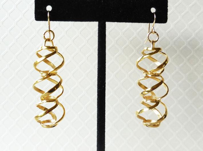 Swirl 3 - Pair of earrings in metal 3d printed
