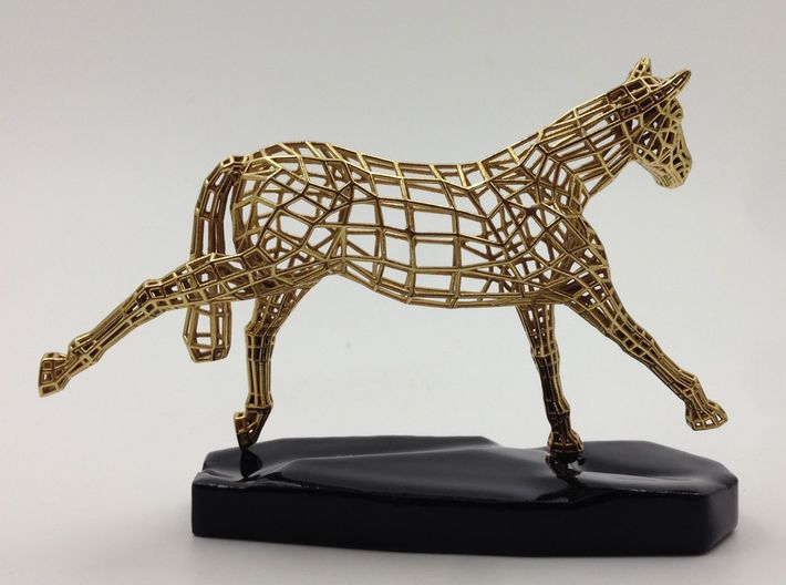 Year of the Horse - Victory 3d printed Actual Photograph - Gold Plated and 3D printed Ceramic Base