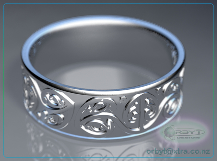 Koru Ring - US size 10 (19.9mm) 3d printed Raytraced DOF render simulating polished silver material