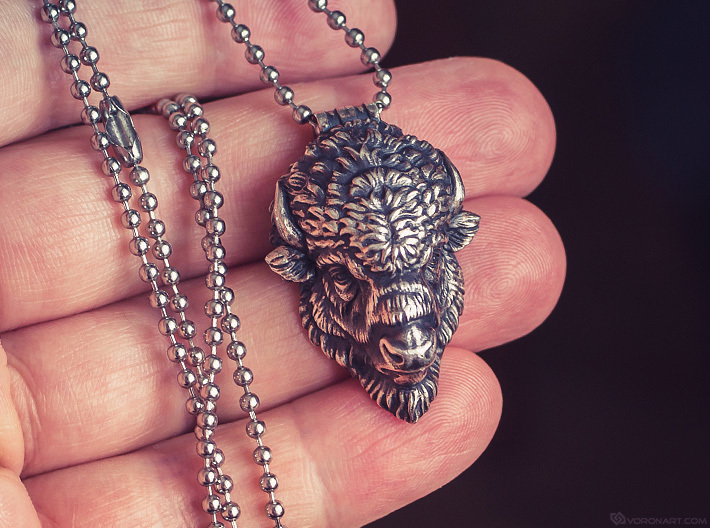 Bison Head pendant 3d printed Artificially aged (blackened) silver