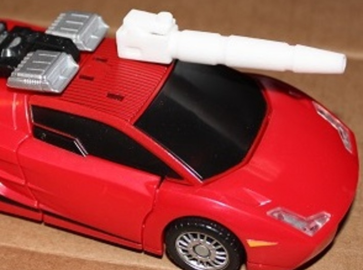Transformers Sideswipe/Red Alert Shoulder Cannon 3d printed Cannon mounts on roof in vehicle mode