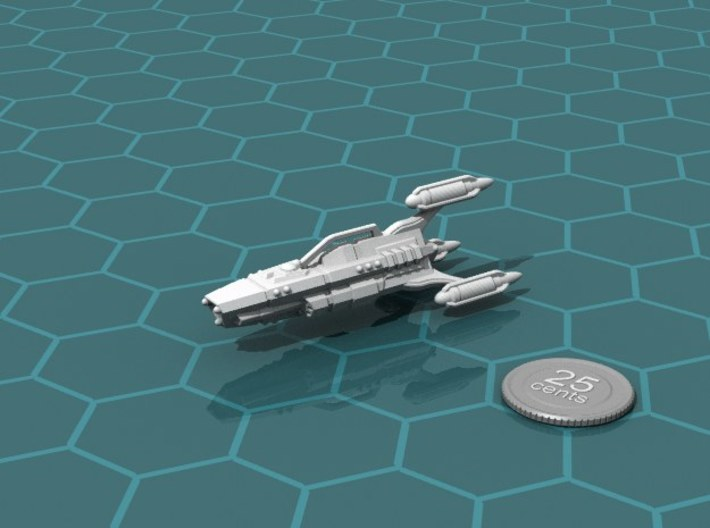 G'jhekk Heavy Cruiser 3d printed Render of the model, with a virtual quarter for scale.