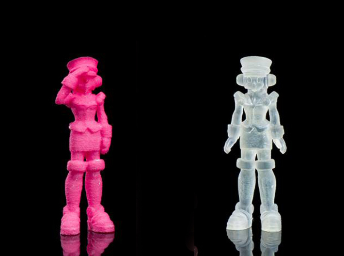 T-Ai, at attention (RiD2000) 35mm Mini 3d printed Frosted ultra detail print, saluting figure in pink strong and flexible