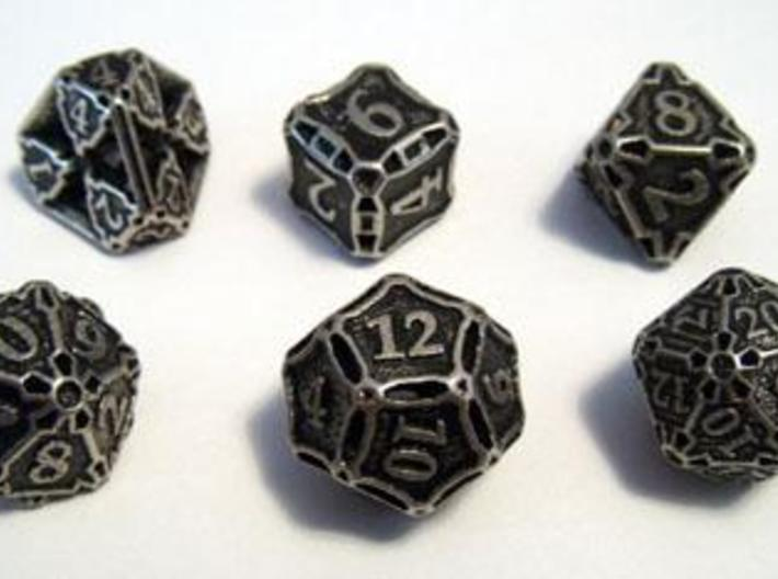 Dice Set 3d printed Dice set in stainless steel and inked.