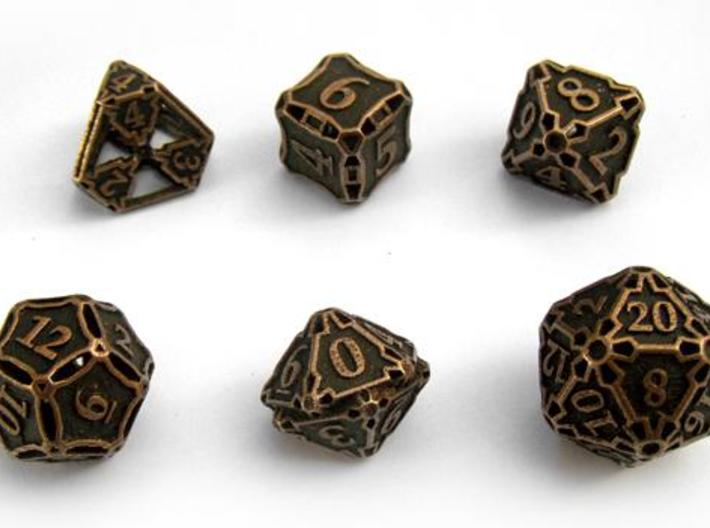 Large Premier Dice Set 3d printed In antique bronze glossy and inked