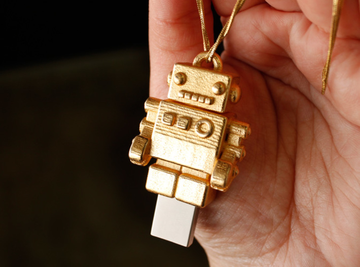 "Gold USB Robot Drive, ""Bling Bob"" 3d printed USB jewel"