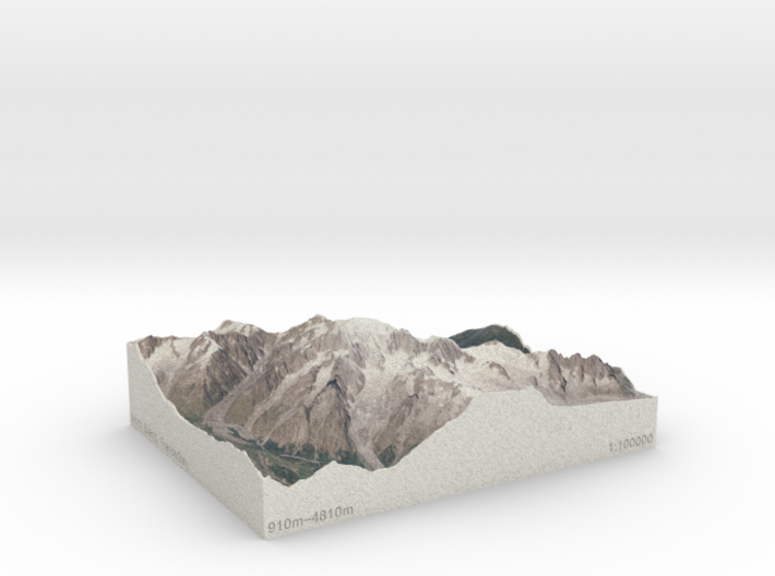 Mont Blanc, France/Italy, 1:100000 Explorer 3d printed