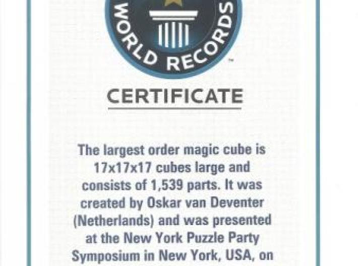 Over The Top 17x17x17 - Part 1 of 7 3d printed Guiness certificate
