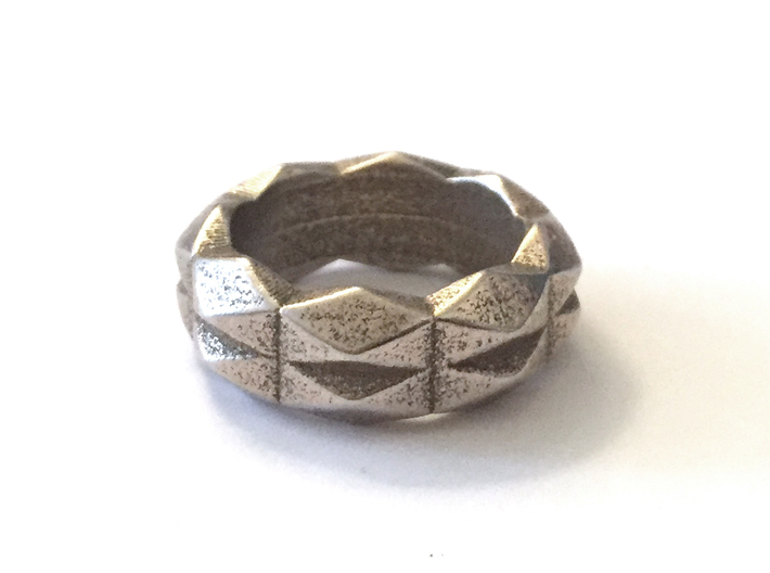 Chunky Geometric Band in 3D Printed Steel 3d printed