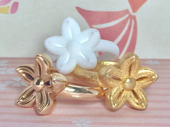 Kanzashi Ring 3d printed Polished Bronze, White (Strong & Flexible) Plastic, and Polished Gold Steel