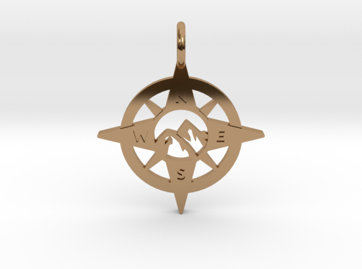 Compass and Mountains Pendant 3d printed
