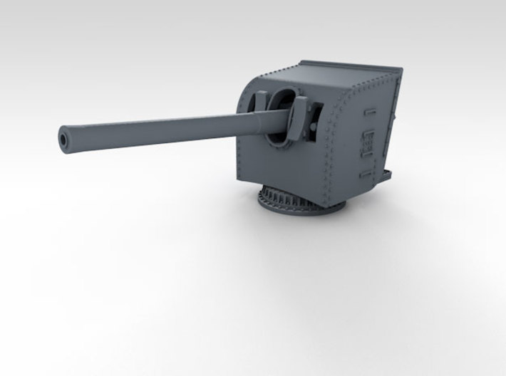 """1/350 HMS Hood 5.5"""" MKI Gun Only x12 3d printed 3d render showing assembled part (Shield available separately)"""