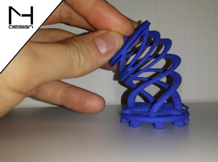 Twister / Spiral 3d printed WS&F in Blue (bend)