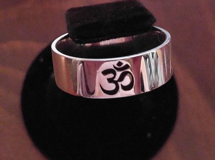 OM Ring - Embossed 3d printed Customer added black enamel after - Photo by Ray Remillard