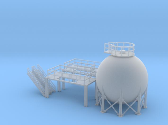 N Scale Spherical Tank + Walkway 3d printed