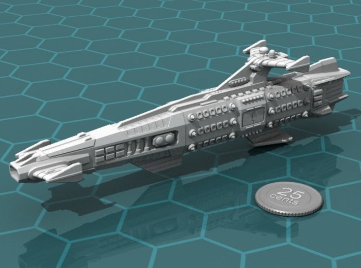 Ikennek Battleship 3d printed Render of the model, with a virtual quarter for scale.