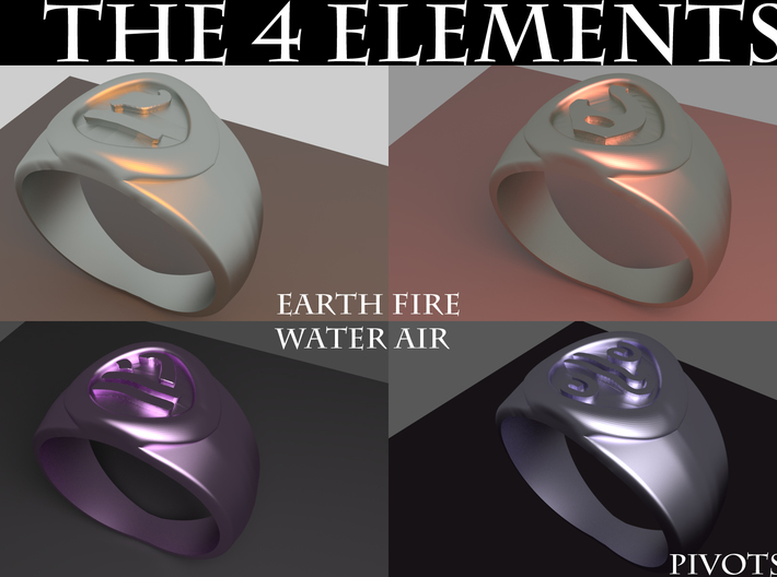 4 Elements - Water Ring 3d printed Rendered Blender Image