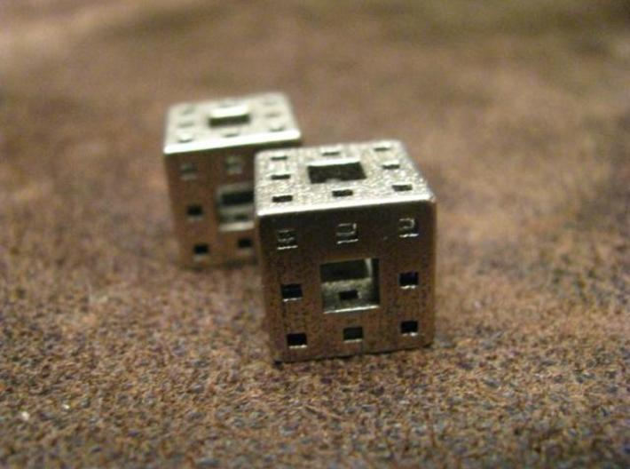 Menger Sponge Earrings 3d printed