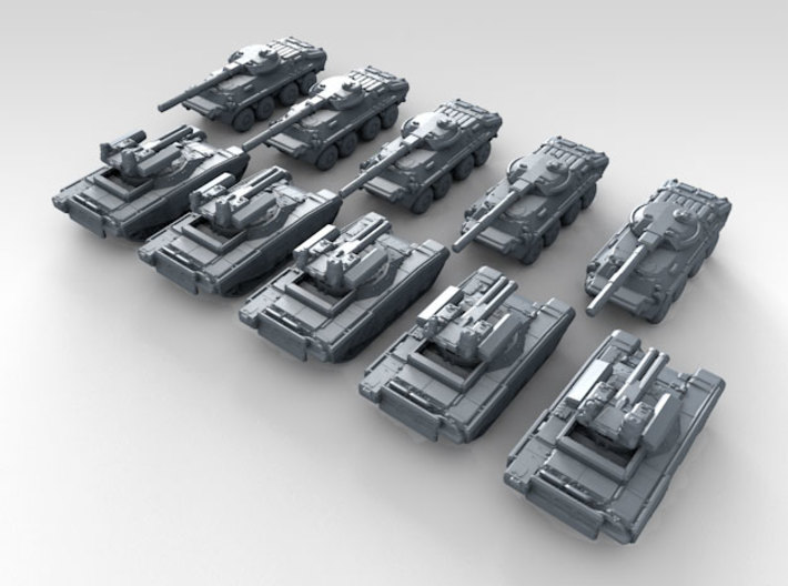 1/700 Scale Russian Modern Tank Set 3 3d printed 3d render showing product detail
