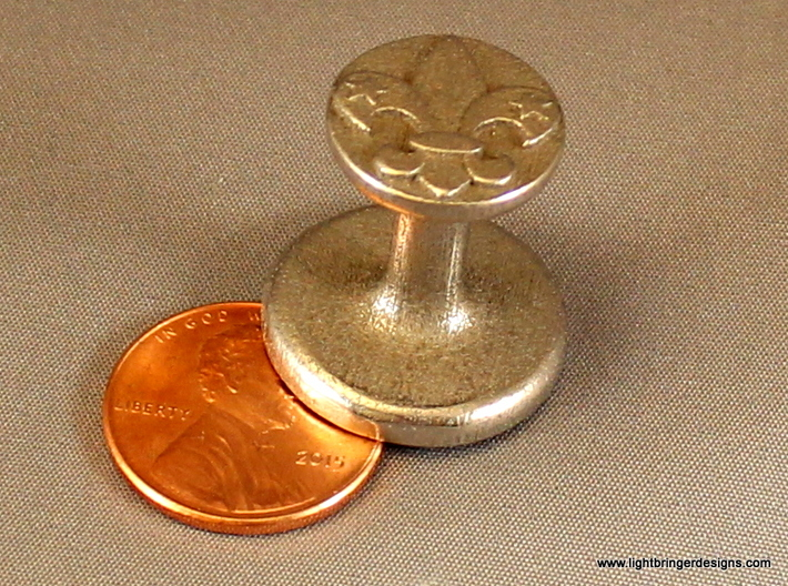 Fleur-de-lis Wax Seal 3d printed Fleur-de-lis wax seal in stainless steel with penny for scale
