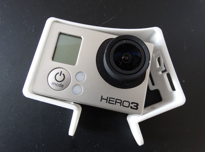 GoPro Hero 3 Frame Mount Strong Secure fit  Go Pro 3d printed flex in the material allows easy installation of the camera