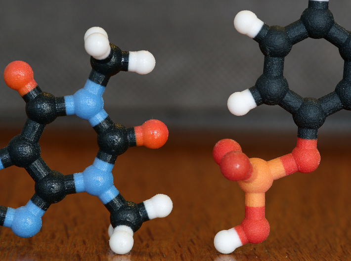 RDX molecule model. 3 Sizes. 3d printed Coated (left) and non-Coated (right) Full Color Sandstone. Coating gives a much smoother feel.