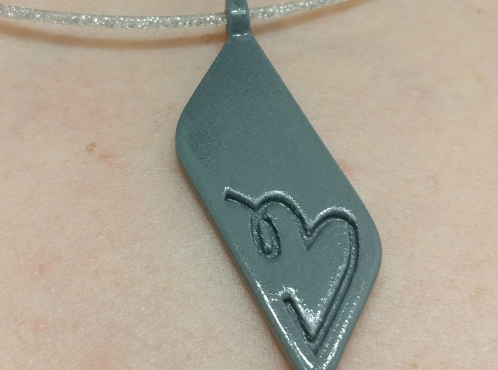Long Heart Pendant 3d printed Shown as a necklace, printed in plastic available on etsy