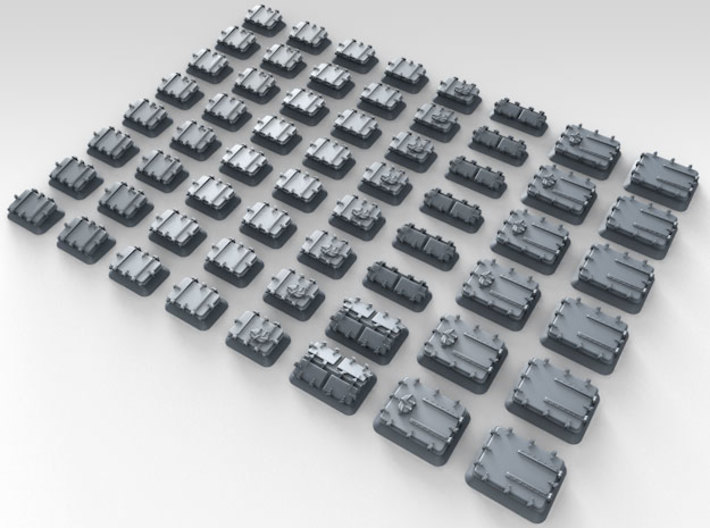 1/600 Royal Navy Assorted Hatches with Blast Plate 3d printed 3d render showing product detail