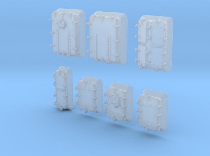 1/500 Royal Navy Assorted Hatches with Blast Plate 3d printed 1/500 Royal Navy Assorted Hatches with Blast Plate